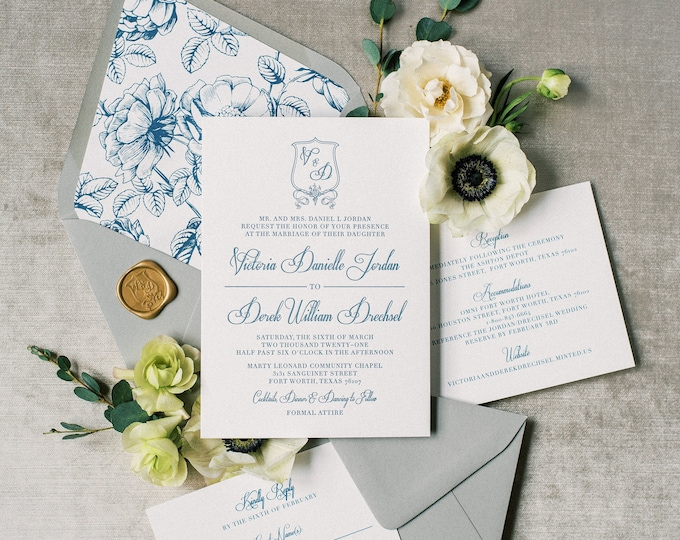 Formal & Traditional Monogram Crest Wedding Invitation with Vellum Belly Band and Gold Wax Seal in Grey, Navy and Slate Blue —Other Colors!