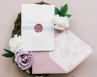Wedding Invitation with Vellum Wrap, Lavender Ribbon, Rose Wax Seal Floral Monogram in Shade of Pink and Purple — Other Colors Available!