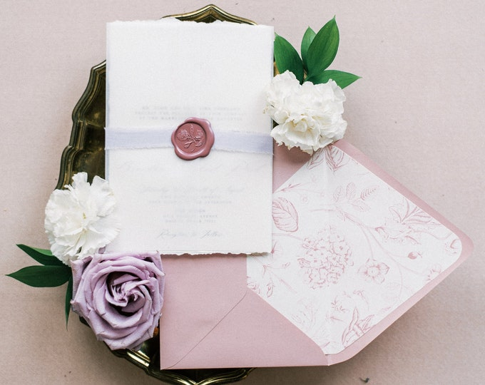 Wedding Invitation with Vellum Wrap, Lavender Ribbon, Rose Wax Seal Floral Monogram in Shade of Pink and Purple —Other Colors Available!