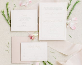 Timeless Pink Blush and Taupe Elegant Double Frame, Classic Wedding Invitation Suite with Envelope Liner & RSVP — Different Colors!