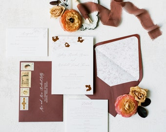 Wedding Invitation with Rose Gold Foil Detailing on Florals, Vellum Belly Band, Dusty Rose with Envelope Liner — Other Colors Available!