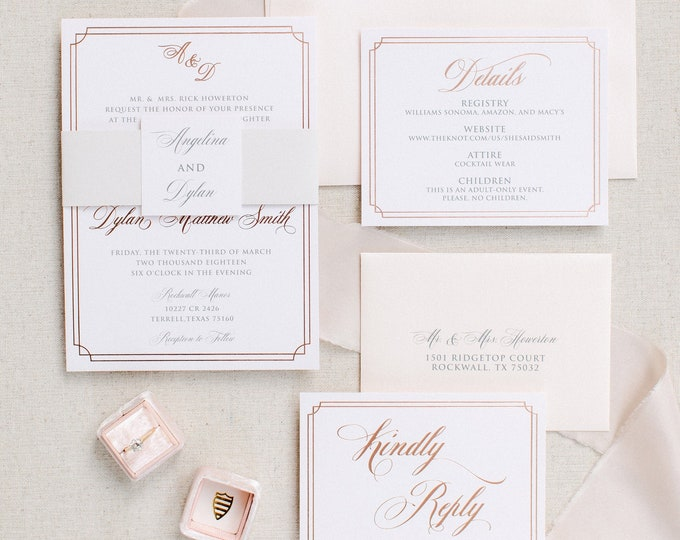 Classy Elegant Rose Gold Foil Formal Luxury Letterpress Flowy Script Wedding Invitation Suite with RSVP & Envelope - Other Color Options