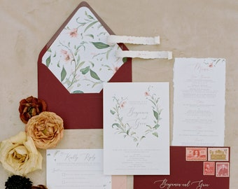 Burgundy and Blush Floral & Greenery Leaves Wedding Invitation with Modern Calligraphy and Envelope Addressing - Other Colors Available