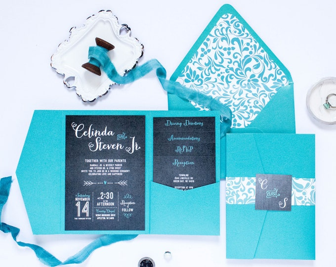 Chalk Board Playful Calligraphy Pocket Folder Wedding Invitation in Turquoise Teal with RSVP, Accommodations, Reception, & Directions Insert