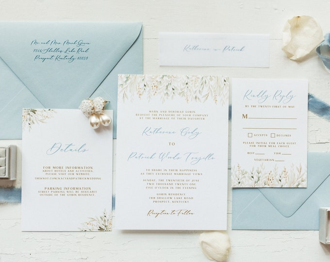 Metallic Gold Thermography Wedding Invitation with Soft Greenery in Dusty Blue with Calligraphy and Envelope Guest Addressing - Other Colors