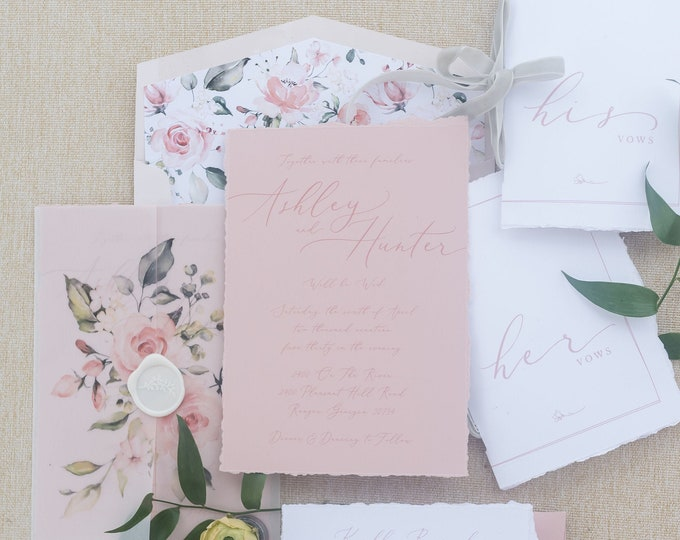 Floral Vellum Wrap Wedding Invitation on Dusty Rose, Modern Calligraphy with Deckled Edges and White Wax Seal - Other Colors