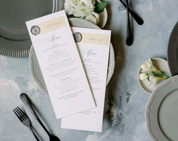 Deckled Edge Place Card + Wedding Menu Combination in Grey, Ivory & White with Blind Letterpress Mountain with Wax Seal —Other Colors!