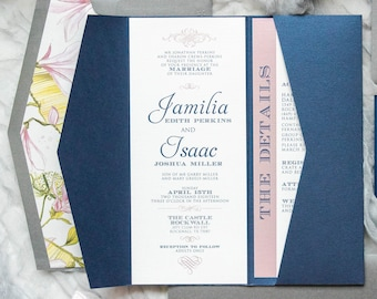Modern Floral Elegant Formal Pocket Wedding Invitation in Navy Blue, Blush Pink and Silver Gray with Flower Envelope Liner & Guest Address