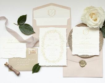Deckled Edge Ivory Marble Gold & Blush Pink Calligraphy Wreath Monogram Crest Wedding Invitation — Envelope Liner, RSVP and Address Printing