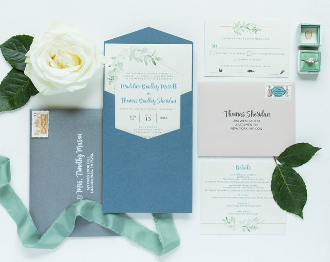 Geometric Modern Ivory Florals Leaves with Blush Pink & Gray Accents and Slate Blue Pocket Wedding Invitation. Other Colors Available.