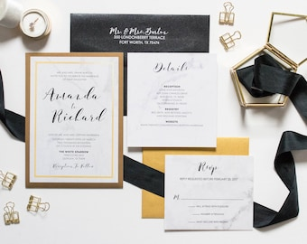Formal Back Pocket Marble Wedding Invitation in Black and Gold — Includes Inserts and Return Address Printing. Other Colors Available
