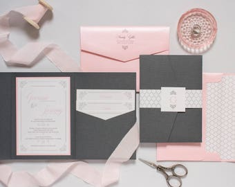 Grey, Pink, Silver Pocket Wedding Invitation Folder with Return Address Printing, Belly Band, Monogram & Inserts — Different Color Options