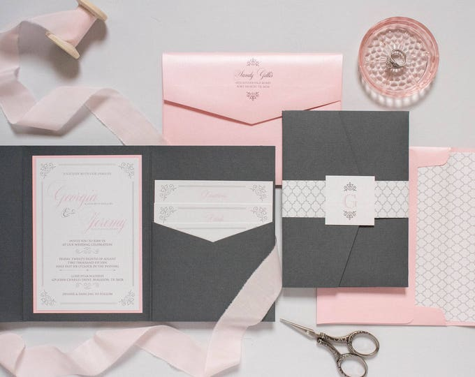 Grey, Pink, Silver Pocket Wedding Invitation Folder with Return Address Printing, Belly Band & Inserts — Different Color Options
