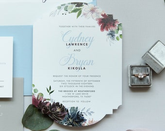 Floral Die Cut Wedding Invitation in Pale Light Blue, Burgundy, Blush & Gray. Includes Envelope Liner and Address Printing on Envelopes