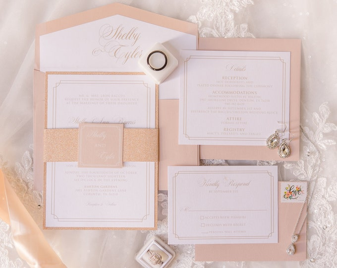 Glam Rose Gold Glitter Wedding Invitation in Blush Pink and White with Envelope Liner, Belly Band & Inserts — Other Colors Available