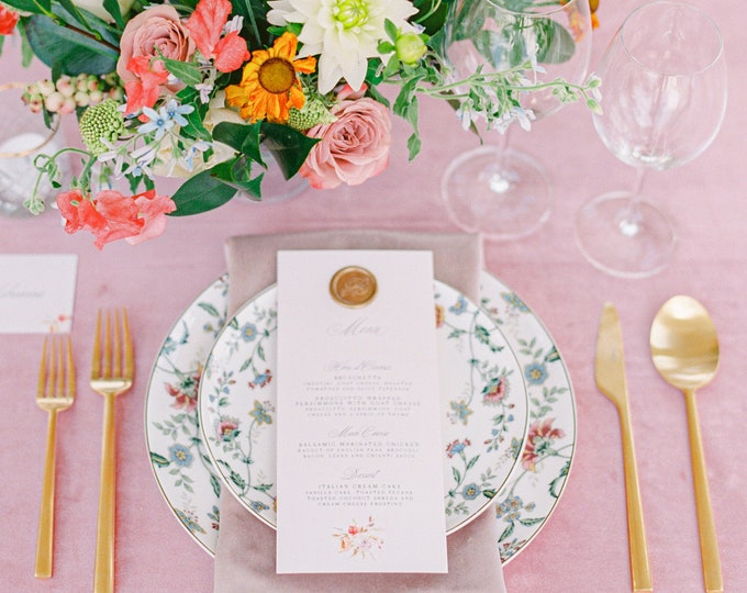 Floral Wedding Menu on Pale Pink with Calligraphy, Flowers, Rose Gold Wax Seal, Printed Menu — Other Colors Available!