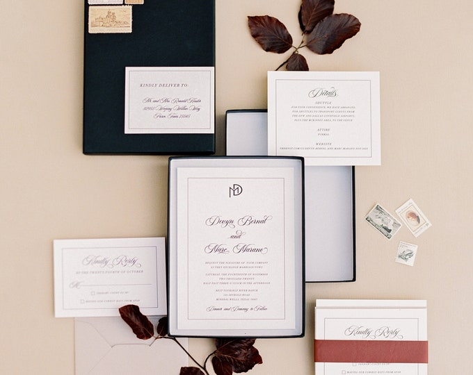 Modern and Simple Boxed Black and White Wedding Invitation with Clean, Uncluttered Design with Guest Addressing —Other Colors!
