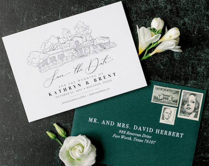 Save the Date with Custom Wedding Venue Sketch Illustration in Dark Green and Black + Envelope Addressing —Different Colors!
