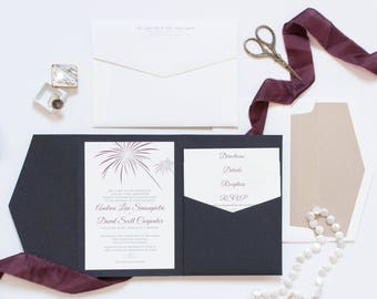 CUSTOM ORDER Fireworks New Years Eve or July 4th Theme Pocket Wedding Invitation in Black, Burgundy, Marsala, Champagne Gold