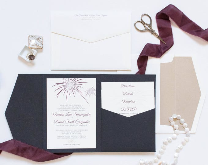Fireworks New Years Eve or July 4th Theme Pocket Wedding Invitation in Black, Burgundy, Marsala, Champagne Gold. Different Colors Available!