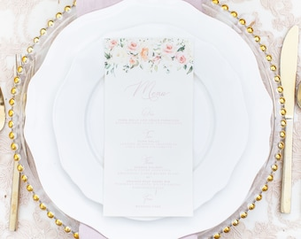 Blush Floral Printed Wedding Menu with Soft Pink Calligraphy Script on Ivory Paper —Different Colors Available!