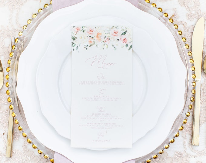 Blush Floral Printed Wedding Menu with Soft Pink Calligraphy Script on Ivory Paper — Different Colors Available!