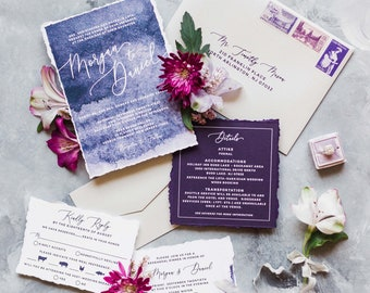 Purple Aubergine Watercolor Wedding Invitation with Modern Calligraphy, Details and Envelope Liner - Different Color Options