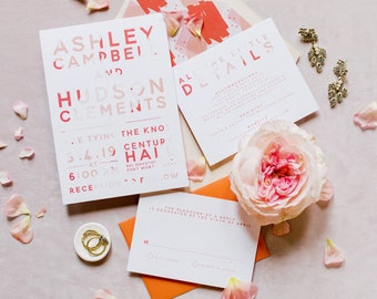 Bright Coral & White Simple Modern Minimalist Wedding Invitation in Orange, Peach and Pink Pink, Envelope Liner - Different Color Options