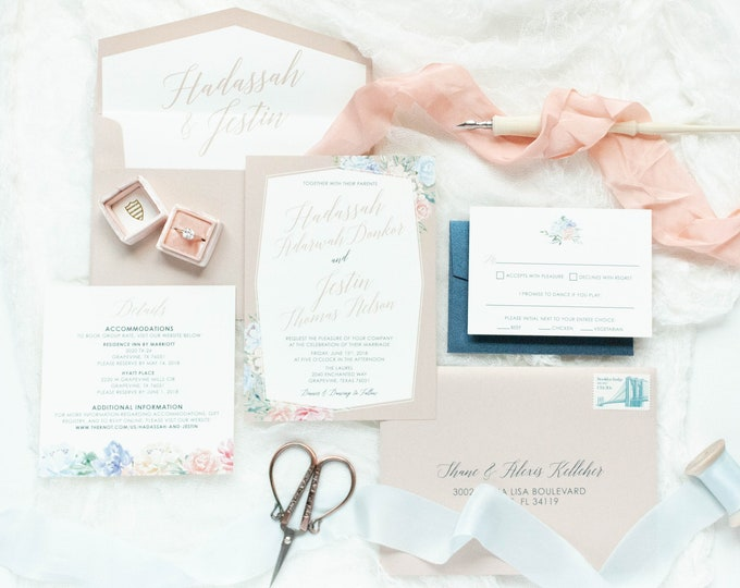 Floral Geometric Frame Calligraphy Wedding Invitation in Blush Pink, Light Blue and Navy with RSVP, Envelope Liner - Other Colors Available