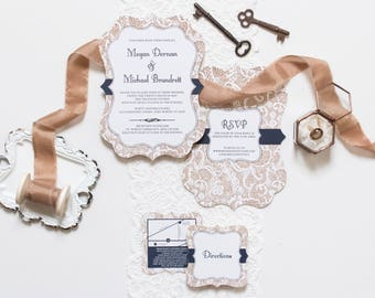5x7 Die Cut Burlap and Lace Navy Country Rustic Wedding Invitation, Directions with Map and Reharsal Dinner