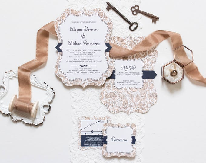 Folding Burlap and Lace, Rustic Barn Wedding Invitation in Navy with Directions and Map, Cowboy Country — Other Colors Available!