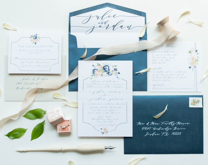 Floral Calligraphy Wedding Invitation in Navy Blue, Blush Pink, Coral Yellow Gold with RSVP, Envelope Liner - Other Colors Available
