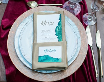 4x8 Water Color Emerald Green & Copper Printed Wedding Menu