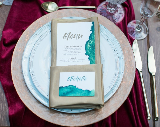4x8 Water Color Emerald Green & Copper Printed Wedding Menu