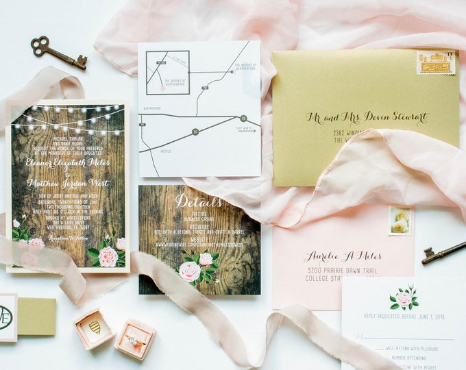 Rustic Pink Blush Roses Country Wood Cafe String Lights Wedding Invitation in Pink with Enclosure Band/Monogram - Multiple Color Options!