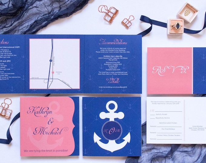 Cruise Itinerary or Destination Nautical Themed Navy and Coral Tri-Fold Wedding Invitation and Postcard RSVPs & Envelopes