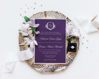 Elegant, Formal Monogram Crest Wedding Invitation in Aubergine Dark Purple, Silver and White Envelope Liner & Inserts — Other Colors
