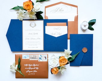 Copper, Blue & Gold Formal Monogram Pocket Wedding Invitation with Wax Seal, RSVP Inserts and Address Printing on Envelopes — Other Colors!