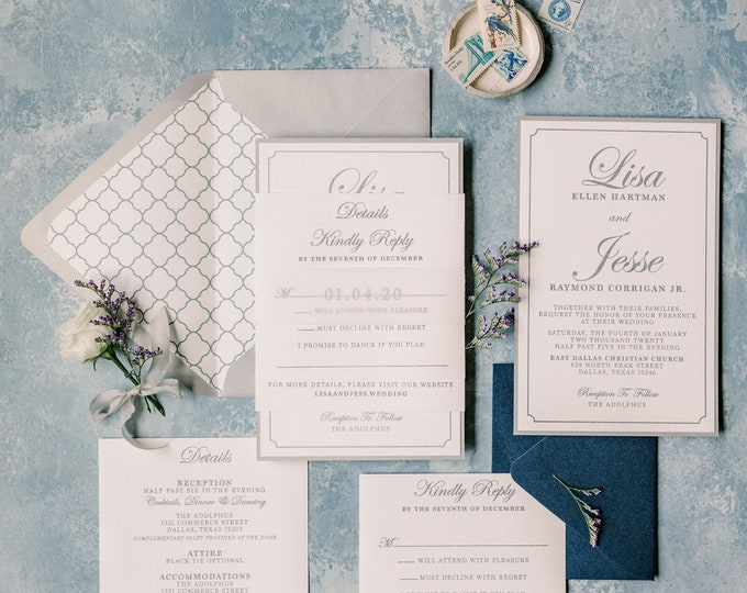 Metallic Silver Thermography and Navy Blue Wedding Invitation, Vellum Band, Backer and Envelope Liner + Addressing —More Colors Available!