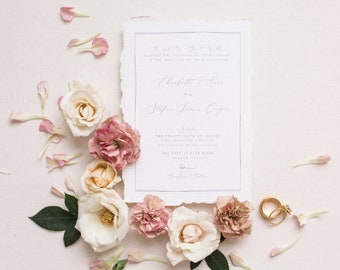 Delicate Line Drawn Floral Wedding Invitation with Calligraphy in Grey, Ivory and Pink — Envelope Liner, Guest Address Printing