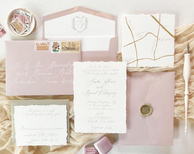 Modern Calligraphy Monogram Crest Wedding Invitation in Gold, Ivory and Blush Pink — Custom Map, Envelope Liner, RSVP & Address Printing