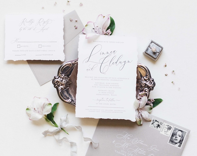 Simple Grey and White Wedding Invitation with Modern Script Calligraphy, RSVP, and Address Printing - Other Colors Available