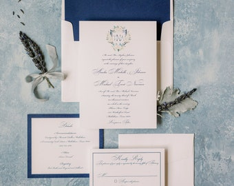 Traditional Wedding Invitation with Custom Water Color Monogram Crest in Navy Blue with Envelope Liner & Addressing —Other Colors Available