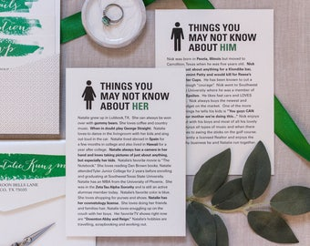 5x7 Wedding Cards for the Table — Things About Him, Things You May Not Know About Her