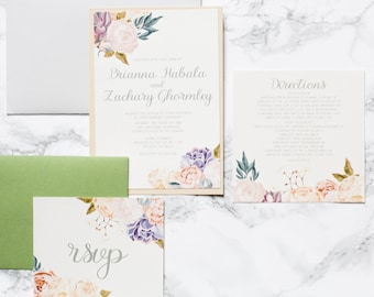 5x7 2 Layer Ivory, Cream Purple, Lavender, Plum Floral Flowers Wedding Invitation - Different Colors Available