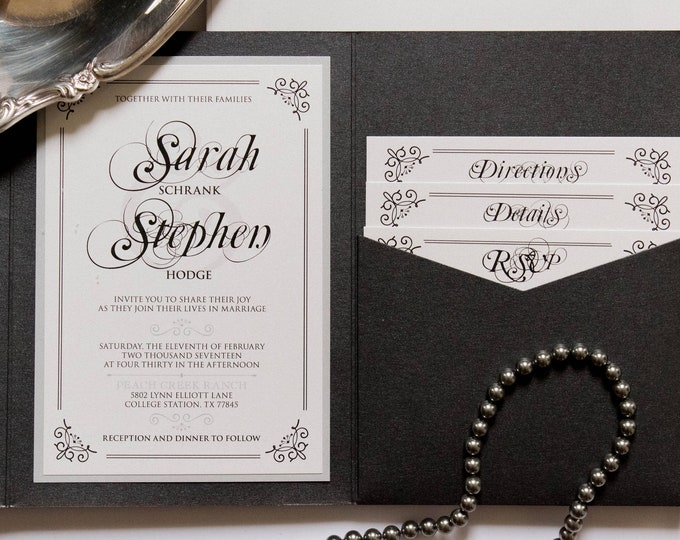 Scroll Frame  Formal Black Grey, Silver Pocket Wedding Invitation with Address Printing, Band, Monogram & Inserts. Different Colors