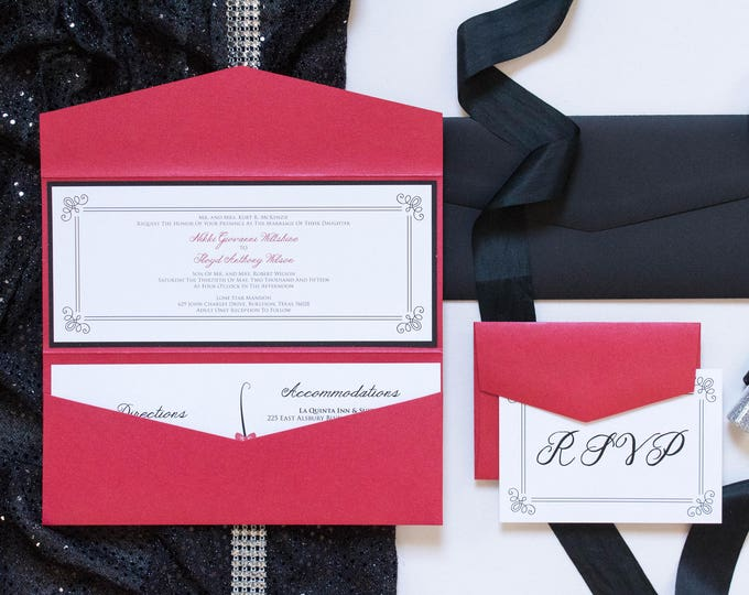 Pocket Folder Wedding Invitation in Red and Black with Details and RSVP Inserts - Other Color Options!
