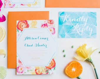 Summer Bright Modern Geometric Water Color Wedding Invite in Orange, Yellow Teal, Turquoise & Pink, Details and RSVP (Other Color Options)