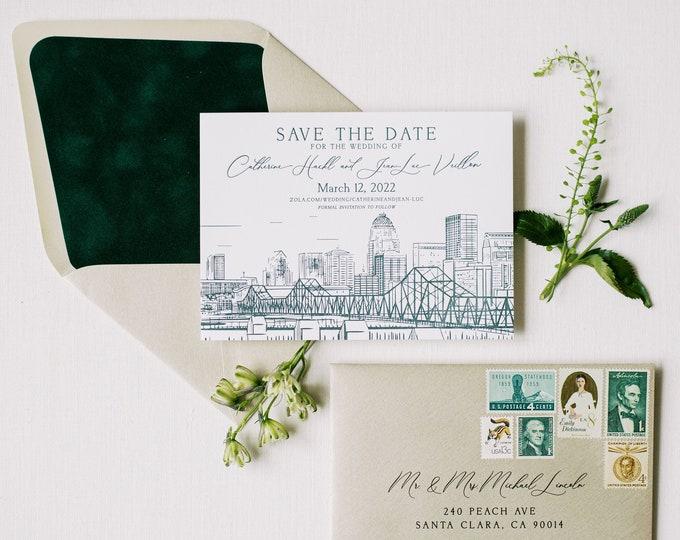 Letterpress Save the Date with Custom Wedding Venue Sketch Illustration, Velvet Envelope Liner Dark Green + Addressing —Different Colors