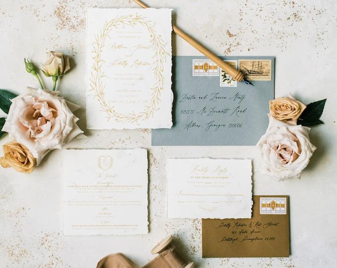 Torn Edges Marble Wedding Invitation in Ivory, Antique Gold & Sage Green — Calligraphy Wreath Monogram Crest, Envelope Liner and Addressing